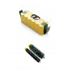 Pack de batería Roomba de 3000 mAh y cepillo central para Roomba 600 y 700