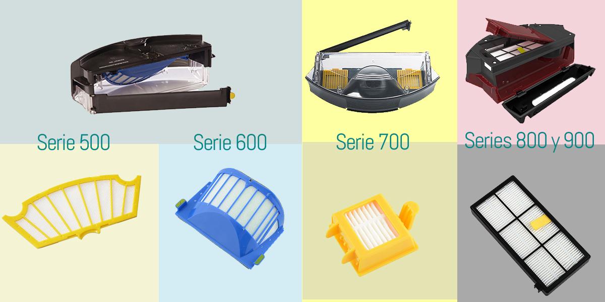 Qué depósito y qué filtros usa mi Roomba